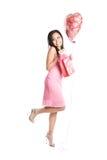 亚裔美丽的华伦泰妇女 免版税库存图片