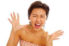 亚裔美丽的女孩惊奇 免版税库存照片