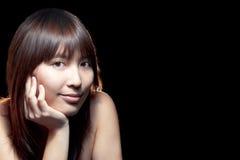 亚裔美丽的女孩理想的皮肤 图库摄影