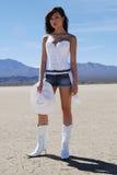 亚裔美丽的女牛仔 免版税图库摄影