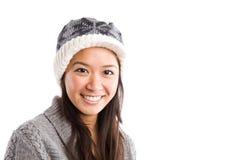 亚裔美丽的愉快的冬天妇女 库存照片