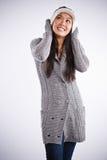 亚裔美丽的愉快的妇女 免版税图库摄影