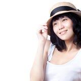 亚裔美丽的深女孩愉快的想法 免版税图库摄影