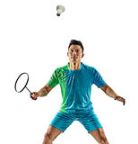 亚裔羽毛球球员人被隔绝 图库摄影