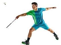 亚裔羽毛球球员人被隔绝 免版税库存照片