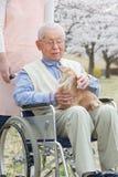 亚裔老人坐有照料者和狗的一个轮椅 免版税库存图片