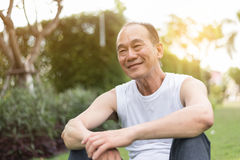 亚裔老人画象放松和坐草在Th 图库摄影