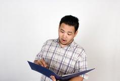亚裔肥胖人的情感 免版税库存图片