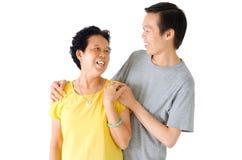 亚裔资深妇女和儿子 免版税图库摄影