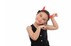 亚裔逗人喜爱的女孩可怕的一点 免版税图库摄影