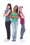 亚裔黑人朋友女孩少年三白色 库存照片