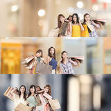 亚裔购物妇女 免版税图库摄影