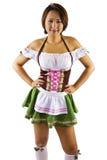 亚裔Oktoberfest女服务员 免版税库存照片