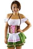 亚裔Oktoberfest女服务员 免版税图库摄影