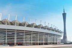 亚运会体育场和广州塔 库存图片