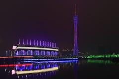 亚运会体育场在晚上,广州,中国 免版税图库摄影