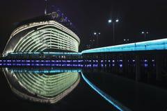 亚运会体育场在晚上,广州,中国 库存图片