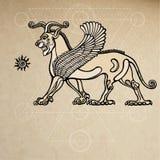 亚述人虚构物飞过的狮子 背景-老纸的模仿 库存例证