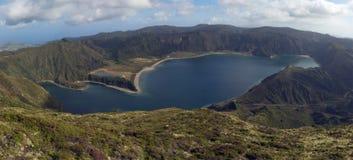亚速尔群岛执行fogo lagoa米格尔・圣 免版税库存照片