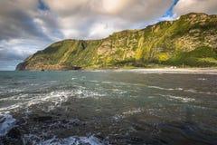 亚速尔群岛海岸线风景在重创的Faja,弗洛勒斯海岛 Portug 库存图片