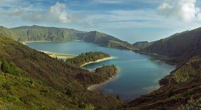 亚速尔群岛火盐水湖 库存照片