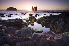 亚速尔群岛:日落在Mosteiros 库存照片