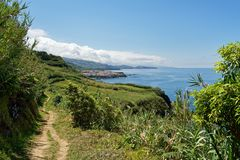 亚速尔群岛-沿海步行有美丽的景色 免版税库存图片