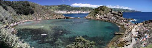 亚速尔群岛de franca illheu海岛全景维拉 库存照片