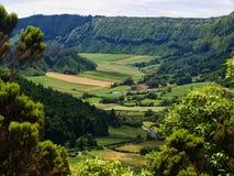 亚速尔群岛ilslands vulcan谷葡萄牙 图库摄影