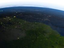 亚马逊三角洲在行星地球上的晚上 库存例证