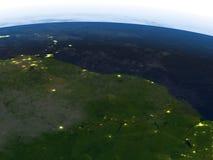亚马逊三角洲在行星地球上的晚上 向量例证