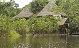 亚马逊厄瓜多尔小屋 免版税图库摄影