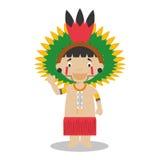 从亚马逊地区的字符在巴西和委内瑞拉穿戴了用传统方式 库存例证