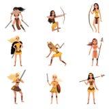 亚马逊女孩设置,有矛的,剑妇女战士,并且弓导航在白色背景的例证 库存例证
