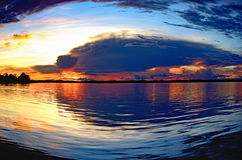 亚马逊日落 免版税图库摄影