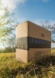 亚马逊由寄生虫填装交付在公园庭院里 免版税库存图片
