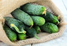 亚麻制袋子的黄瓜 免版税库存照片