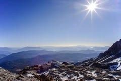 亚洲中国云南裕隆雪山俯视 库存照片
