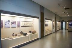 亚洲中国人、北京、妇女和儿童的博物馆,室内展览室 库存照片