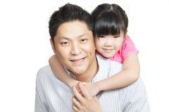 亚洲中国女儿系列父亲纵向 库存照片