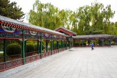 亚洲中国,北京,中山公园,古色古香的大厦,亭子画廊 免版税库存图片