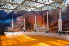 亚洲中国,北京,农业狂欢节,室内展览室,场面,太空火箭 库存图片