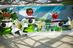 亚洲中国,北京,农业狂欢节,室内展览室,场面,式样飞机 免版税库存图片