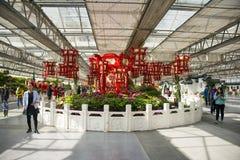 亚洲中国,北京,农业狂欢节,室内展览室,场面,红色灯笼 库存照片