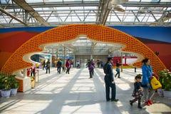 亚洲中国,北京,农业狂欢节,室内展览室,场面,花塑造了门 库存照片