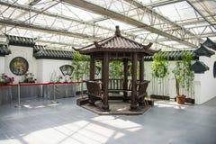 亚洲中国,北京,农业狂欢节,现代建筑学,室内展览室,场面,古色古香的大厦,亭子 免版税图库摄影