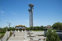 亚洲中国,北京,奥林匹克公园,城楼 免版税库存图片