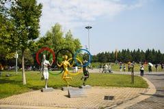 亚洲中国,北京,奥林匹克森林公园,风景雕塑,同一个梦想 免版税库存图片