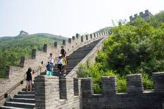 亚洲中国,北京,长城居庸关,步 免版税库存图片