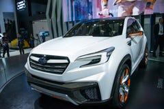 亚洲中国,北京, 2016国际性组织汽车陈列,室内展览室, Subaru Viziv未来概念汽车 库存照片